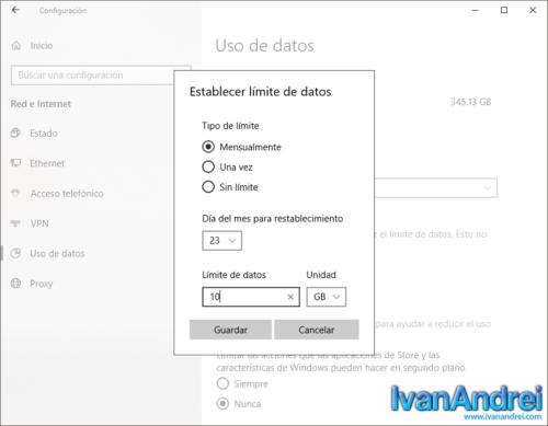 Windows 10 - Establecer límite de datos mensual, una vez o sin límite