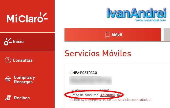 Cambiar a Claro Postpago Control (Perú) - Límite de consumo