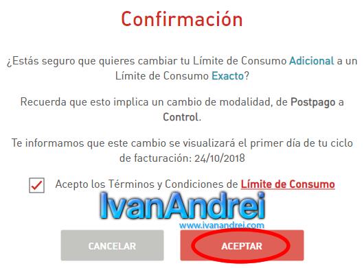 Cambiar a Claro Postpago Control (Perú) - Confirmación