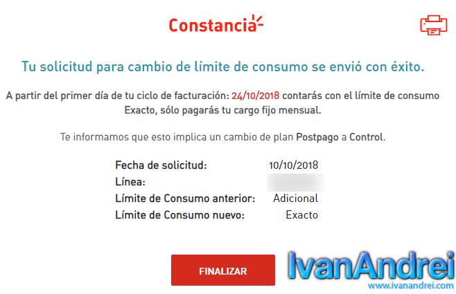 Cambiar a Claro Postpago Control (Perú) - Constancia