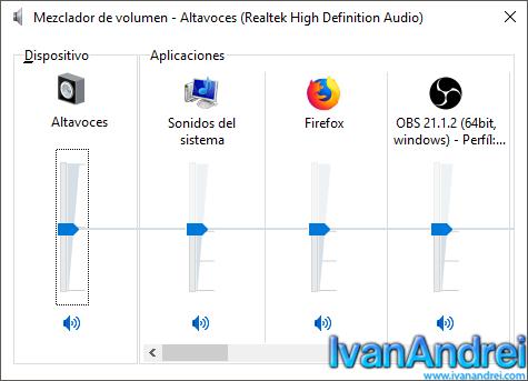 Mezclador de volumen de windows 10 (Clásico)