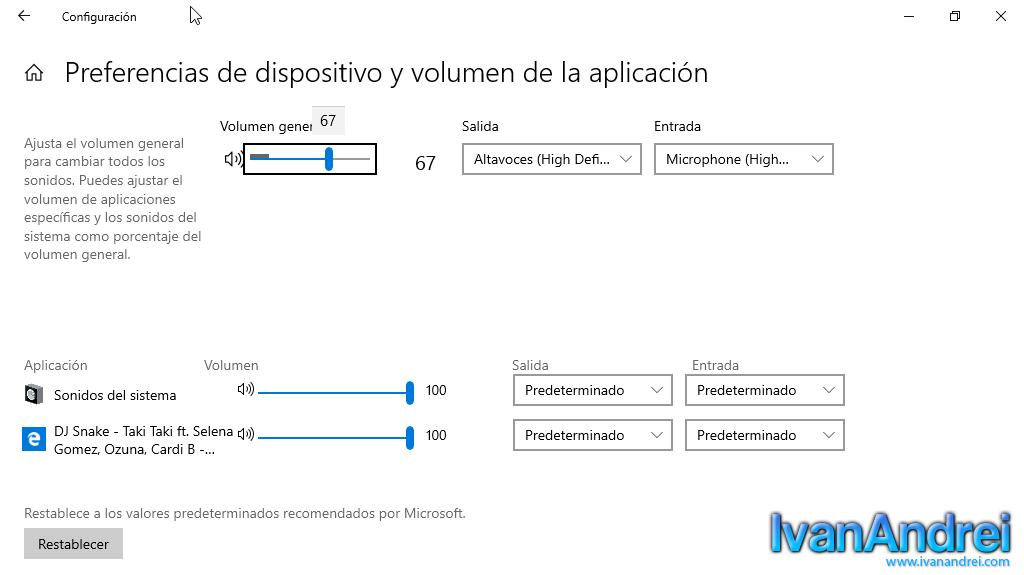 Mezclador de volumen de windows 10 (Moderno)