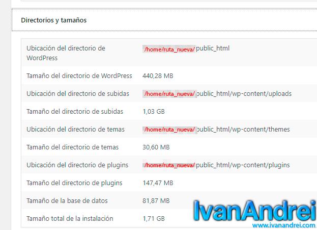 migrar wordpress a otro hosting - nueva ruta