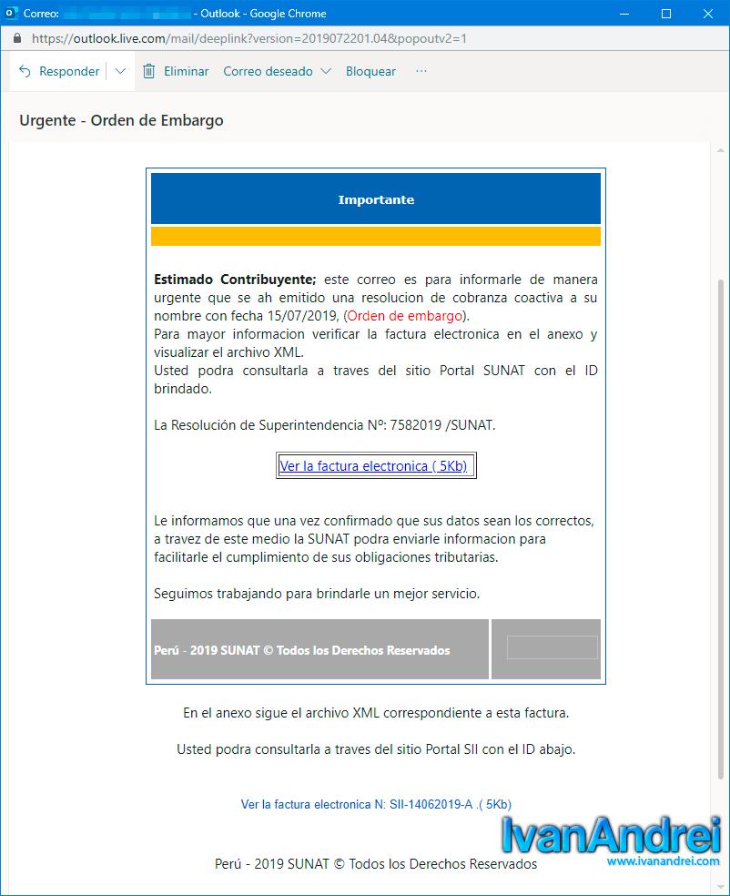 Ciberdelincuentes envían correos falsos de la SUNAT