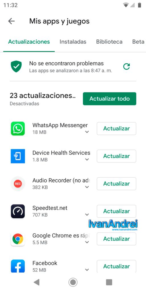 Actualizar aplicaciones cada cierto tiempo en Android