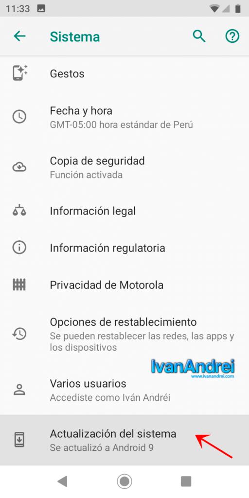 Actualización del sistema en Android