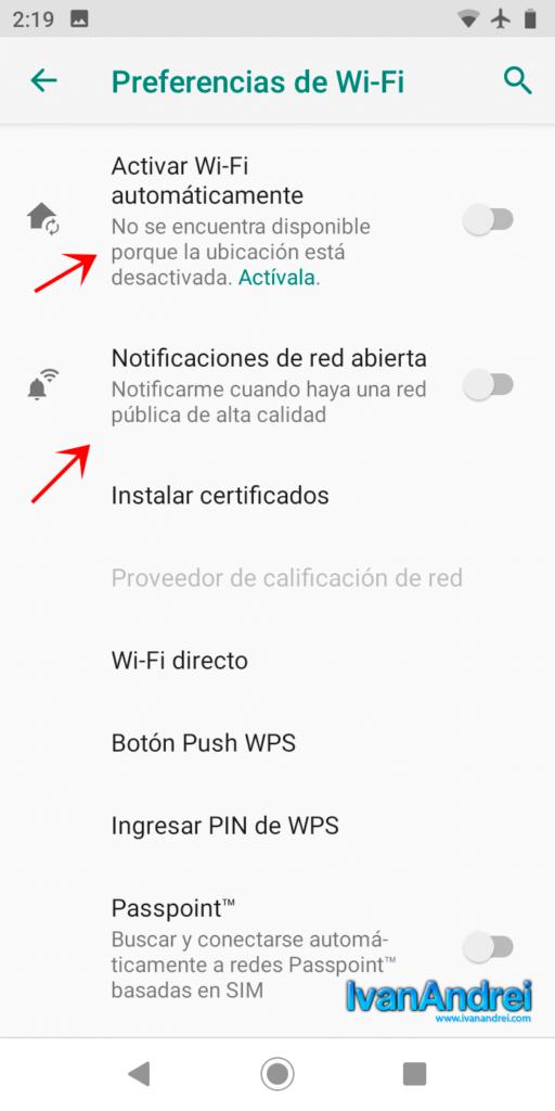 Desactivar Wi-Fi avanzado
