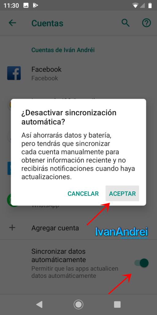 Desactivar sincronización automática