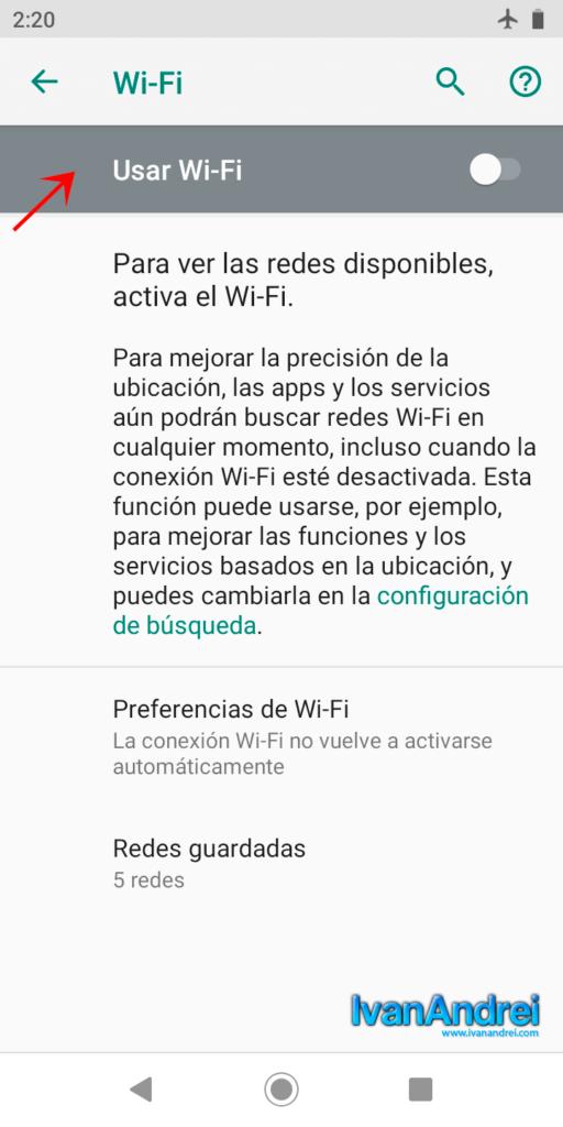 Ahorrar batería en Android - Desactivar Wi-Fi