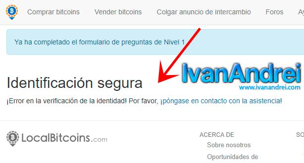 Localbitcoin - Niveles en la verificación de la identidad - error