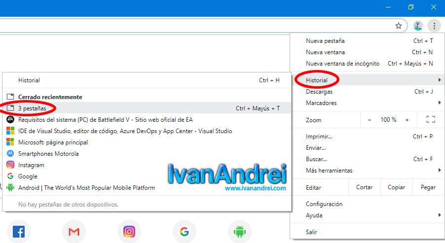 Recuperar paginas cerradas por error Google Chrome