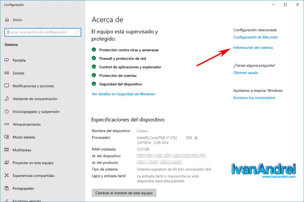 Windows 10 - Acerca de - Información del sistemaWindows 10 - Acerca de - Información del sistema