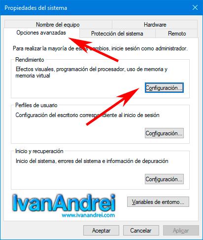 Windows 10 - Propiedades del sistema - Como activar o desactivar animaciones visuales en Windows 10