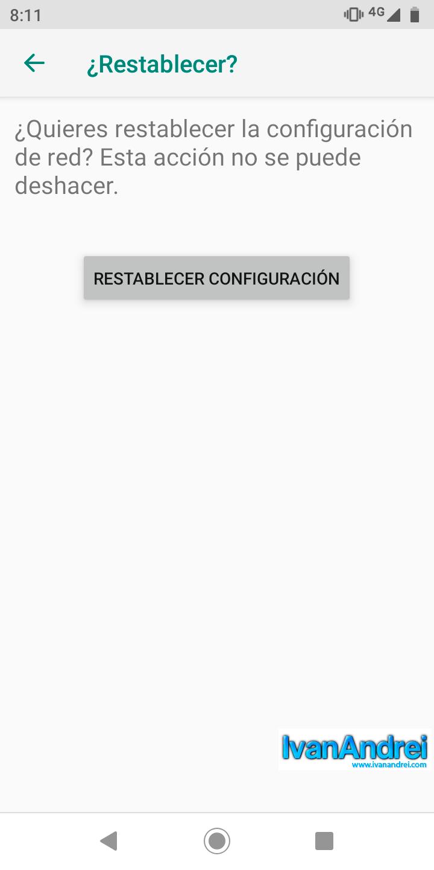 Android - Opciones de restablecimiento - Restablecer