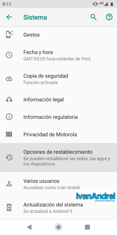 Android - Sistema - Opciones de restablecimiento