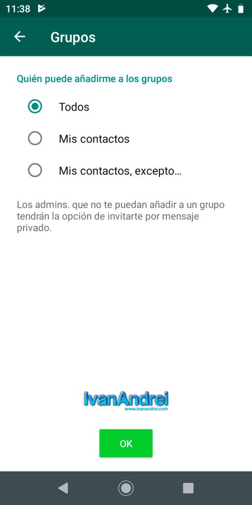 Bloquear invitaciones a grupos en Whatsapp