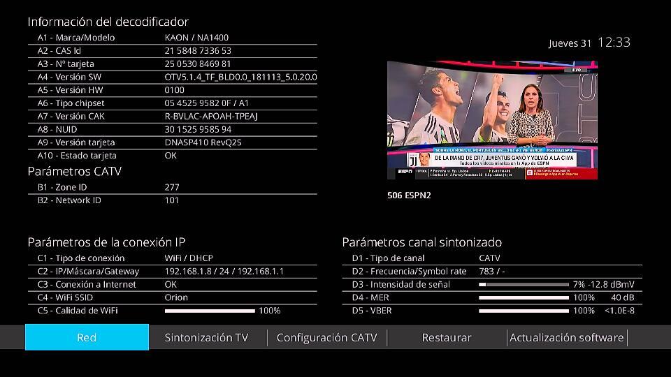Menú información del decodificador de Kaon de Movistar