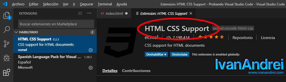 Visual Studio Code - html css support