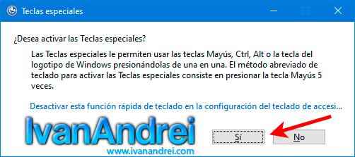 Activar o desactivar las teclas especiales o sticky keys en Windows 10