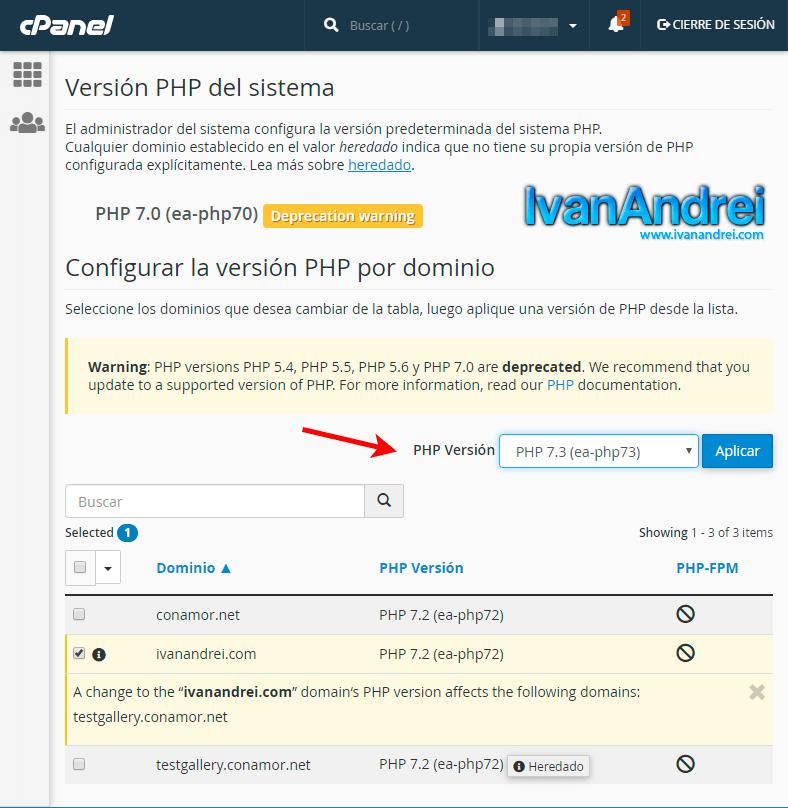 Cambiar versión de PHP desde Cpanel