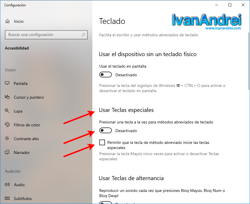 Desactivar teclas especiales o sticky keys en windows 10