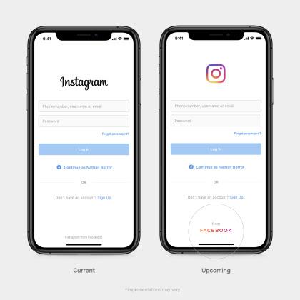 Facebook logo corporativo en Instagram