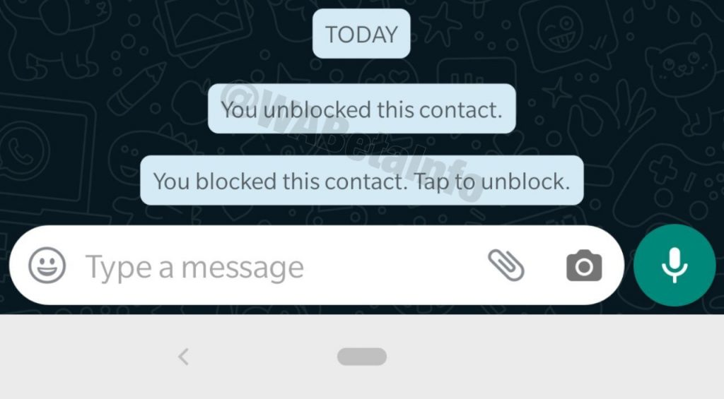 Notificación contacto bloqueado en chat de WhatsApp