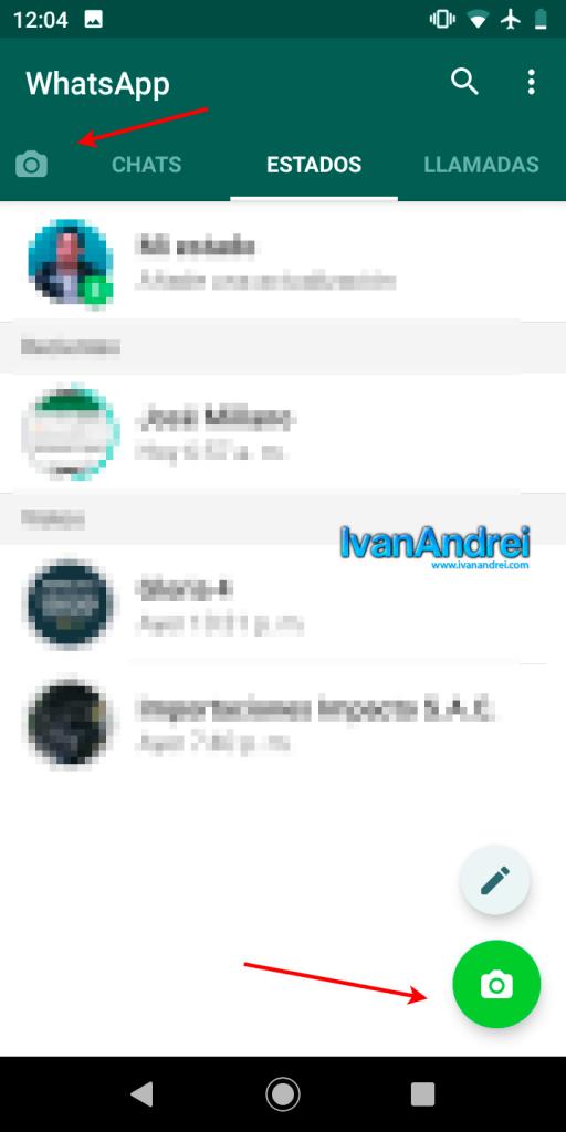 renovado icono de cámara en WhatsApp