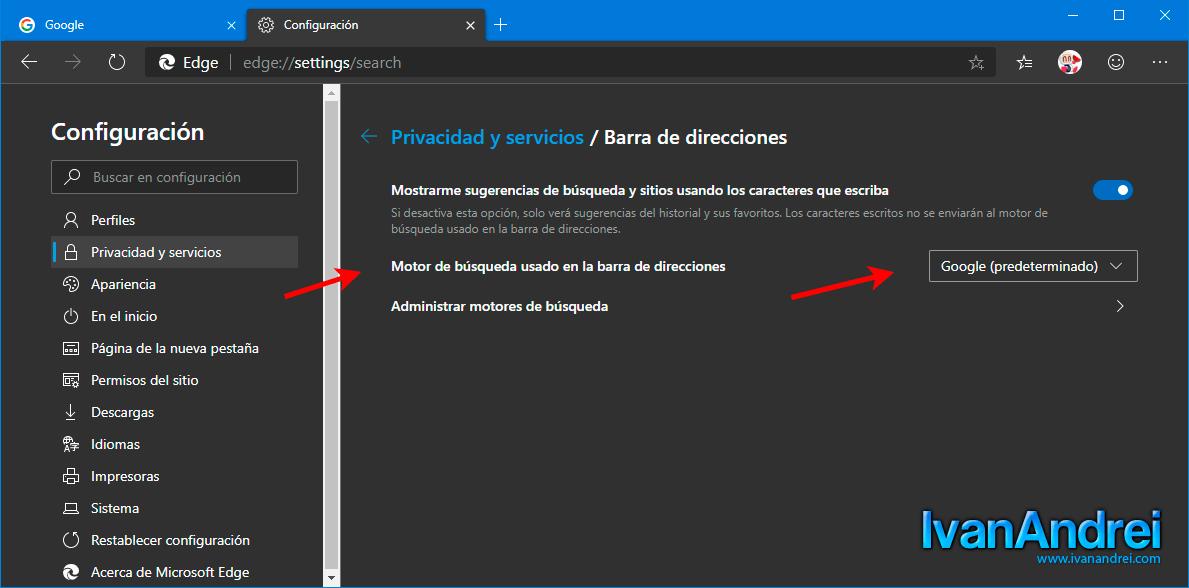Microsoft Egde (Chromium) - Cambar motor de búsqueda