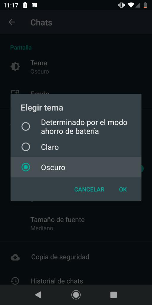 Activar y desactivar el tema oscuro en WhatsApp para Android