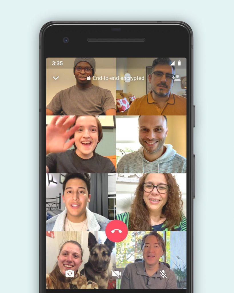 Videollamadas grupales en WhatsApp hasta con 8 contactos