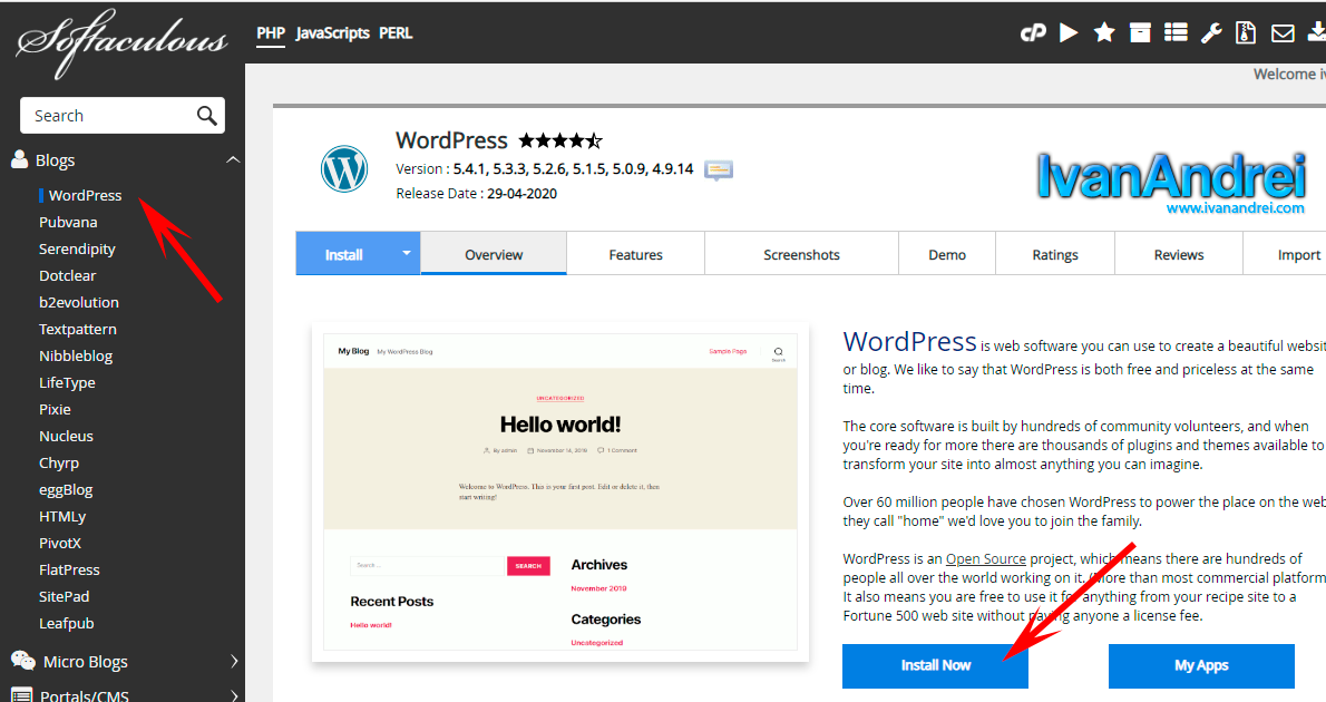 Como instalar WordPress con Softaculous