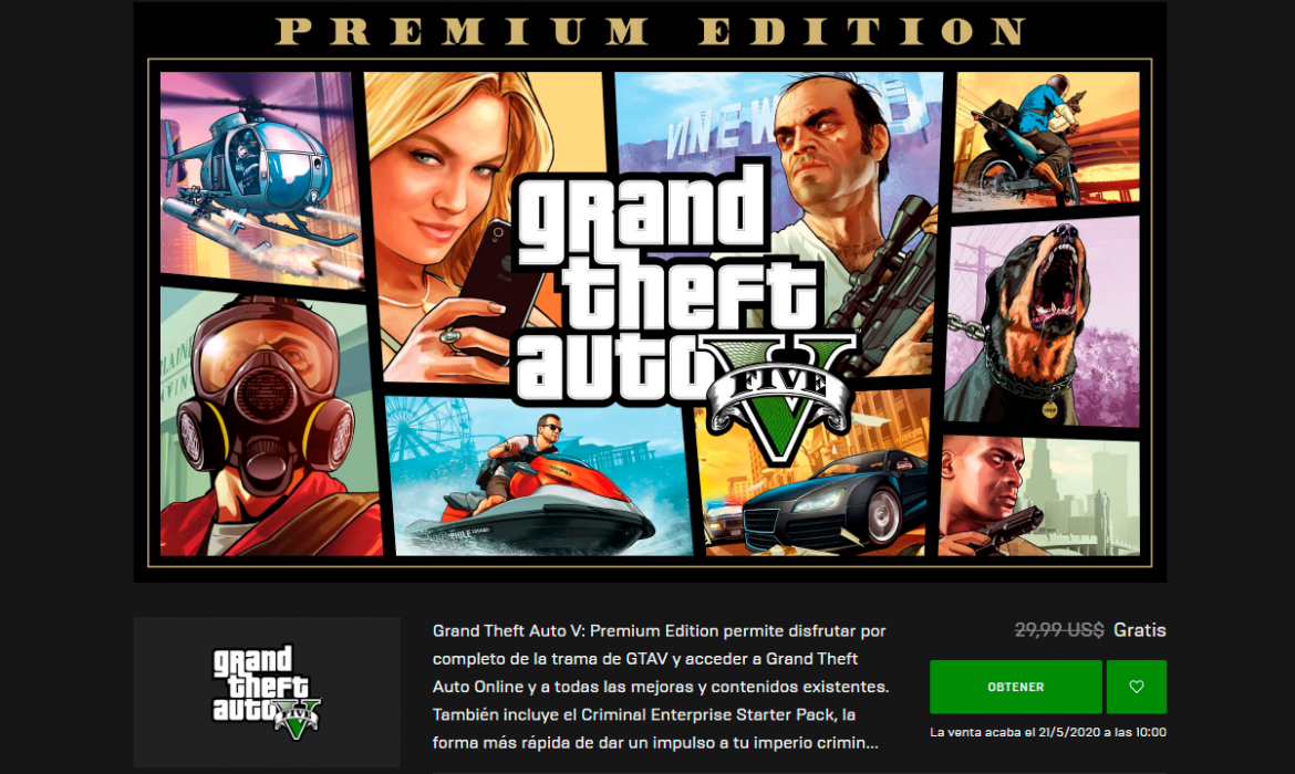GTA V para PC gratis en Epic Games