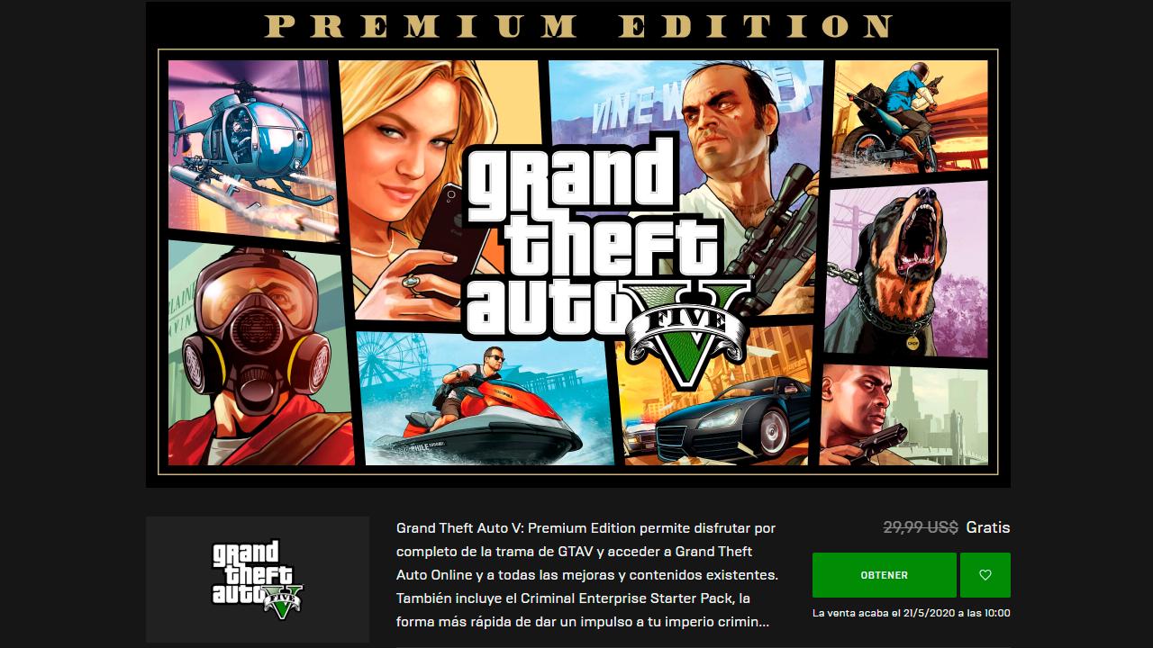 GTA V para PC gratis en Epic Games