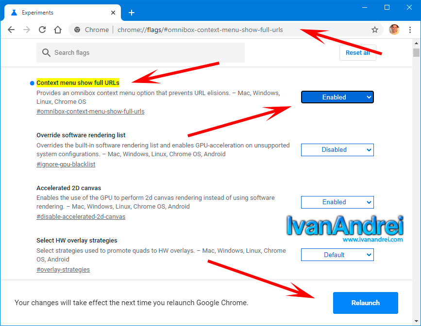 Mostrar URL completa en Google Chrome