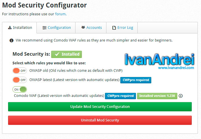 Reglas en Mod_Security de CWP (Control Web Panel)