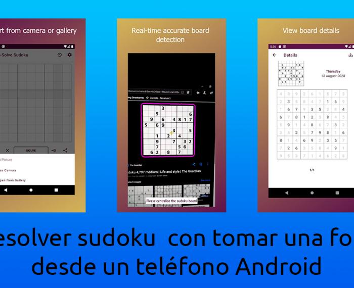 Resolver sudoku con tomar una foto desde un teléfono Android