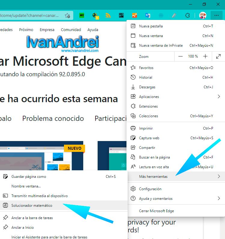 Microsoft Math Solver en Microsoft Edge 91