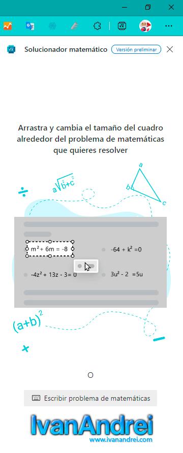 Seleccionar área del problema de matemática en Edge