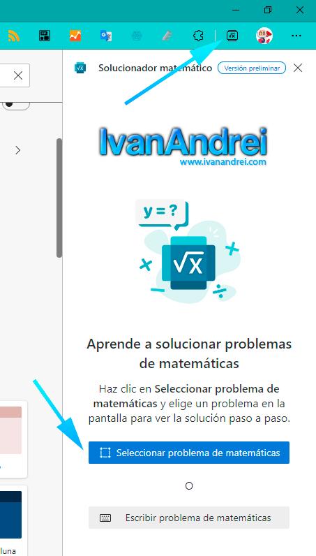 Seleccionar problema de matemáticas en Edge