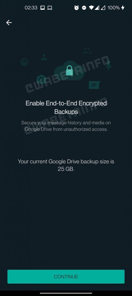 Activar copia de seguridad cifrada de extremo a extremo en WhatsApp