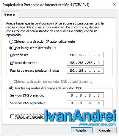 IP estática en Windows 10 al estilo clásico