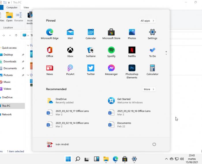 Windows 11 - Menú inicio