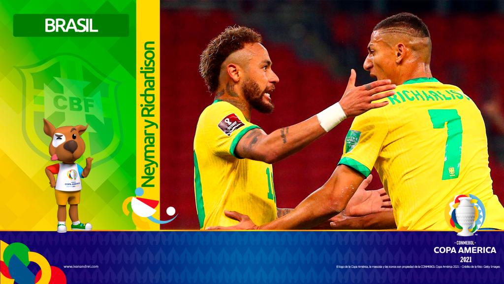 Copa América Brasil 2021 - Selección de Brasil - Neymar y Richarlison