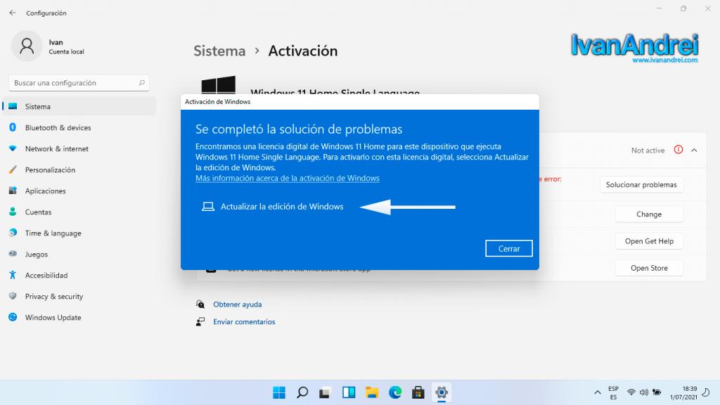 Actualizar la edición de Windows 11