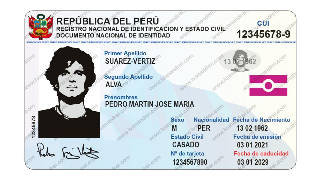 Parte frontal del DNI electrónico de Perú