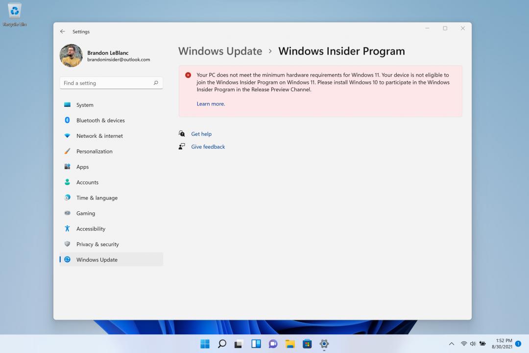 Windows 11 - Equipo no compatible en Windows Insider