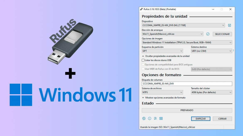 Crear USB de Windows 11 para equipos no soportados con Rufus