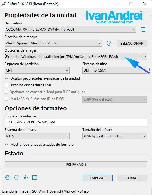 Crear USB booteable de Windows 11 con Rufus para equipos no soportados