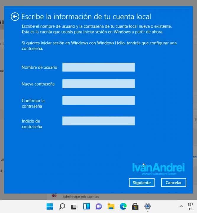 Windows 11 - Cuenta Local - Nuevo usuario